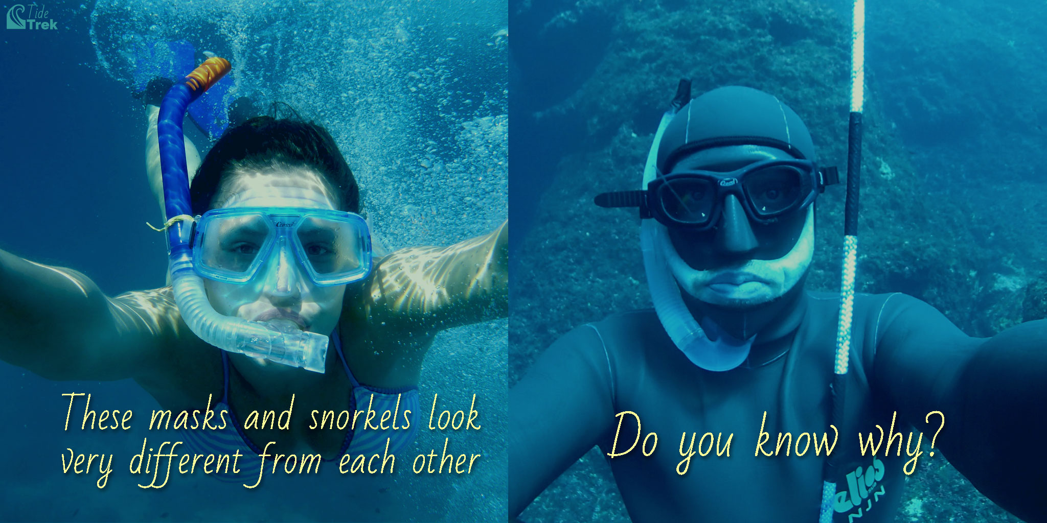 Photo of a woman wearing a typical mask and snorkel contrasted with a freediver wearing a low-volume mask and compact snorkel