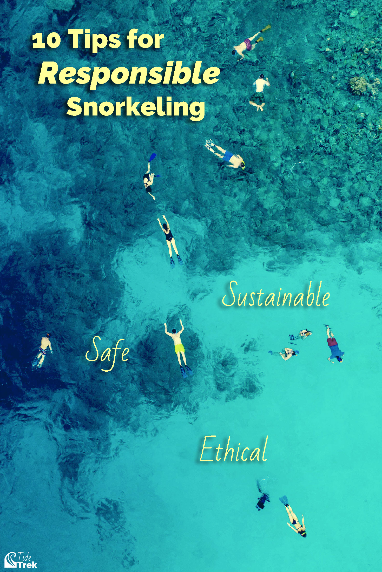 Overhead drone photo of several snorkelers on a coral reef.