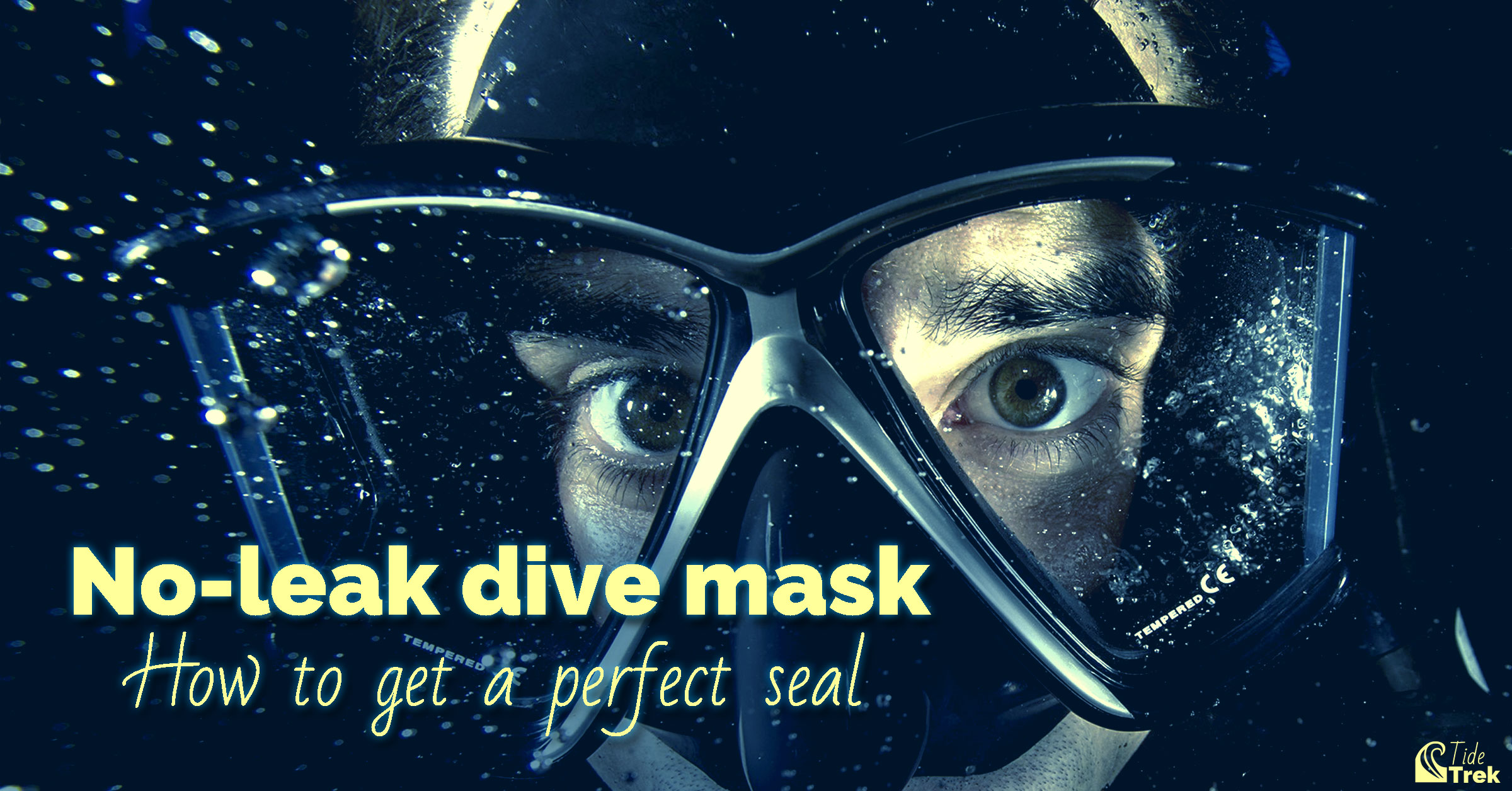 Close up view of a diver's face wearing a mask with no leaks