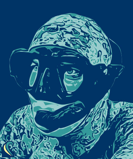 An abstract vectorized portrait of a spearfisher wearing a low-volume mask and classic snorkel